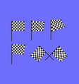 racing flags checkered finish set vector image vector image
