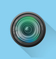 realistic camera lens icon on blue background vector image vector image