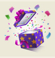 realistic surprise gift box vector image vector image