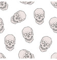 seamless pattern with realistic human skulls vector image vector image