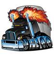 semi truck tractor trailer big rig cartoon vector image vector image