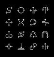 set line icons arrows vector image
