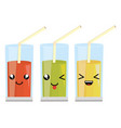 set of glasses with juice fruits kawaii characters vector image vector image