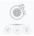 Siren alarm tire service and jerrycan icons vector image vector image