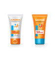 sunblock lotion packages sunscreen protection vector image vector image
