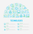 technologies concept in half circle vector image vector image