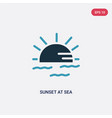 two color sunset at sea icon from summer concept vector image