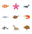 underwater animals icons set cartoon style vector image
