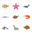 underwater animals icons set cartoon style vector image vector image