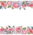 watercolor rose floral frame vector image vector image