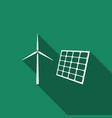 wind mill turbines and solar panel icon vector image vector image