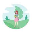 woman in park with a bouquet flowers vector image vector image