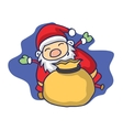 Christmas theme with Santa Claus and gift bag vector image