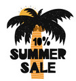 advert card with lettering 10 summer sale wit palm vector image