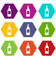 alcohol bottle icons set 9 vector image vector image