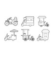 bike icon set outline style vector image vector image