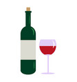 bottle wine and glass isolated on white vector image vector image