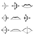 bow arrow weapon icons set simple style vector image vector image