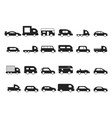 car icons pictograms black transport truck suv vector image vector image