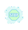 cartoon red stop sign icon in comic style danger vector image