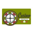 casino isolated icon roulette wheel and play cards vector image vector image