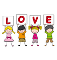 children with a sign saying love vector image
