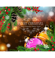 Christmas baubles with sparkles and fir branches vector image vector image