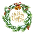 Christmas wreath of fir branches Merry Christmas vector image vector image