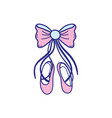 colorful ballet shoes style with ribbon bow vector image