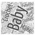 crochet baby patterns Word Cloud Concept vector image vector image