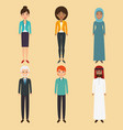 diversity people icon set vector image vector image