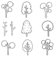 Doodle of simple tree set vector image vector image