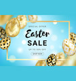 easter sale golden eggs design horizontal vector image