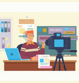 education video blog filming backstage concept vector image vector image