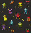 endless backkground of pixel monsters vector image vector image