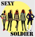 Five Sexy Soldier wearing sexy uniform vector image vector image