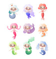 flat set of cute mermaids girls isolated on white vector image