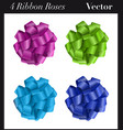 four ribbon roses vector image