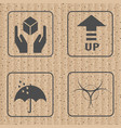fragile symbol and symbol of packing box icon vector image