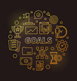 goals golden circular in vector image vector image