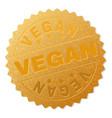 gold vegan badge stamp vector image vector image