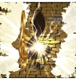 Golden treble clef with a cut in the brick wall vector image vector image