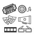 hand draw mask glasses speaker reel ticket vector image