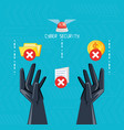 hands with icons of cyber security vector image vector image