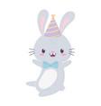 happy birthday cute rabbit party hat bow tie vector image