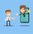 happy businessman give thumb up to call center vector image