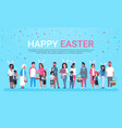 happy easter greeting card banner with group of vector image