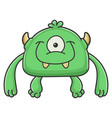 happy green cyclops goblin cartoon monster vector image vector image