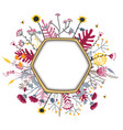 hexagon frame with cute honey flowers and bees vector image vector image