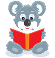 koala cub reading a book vector image vector image